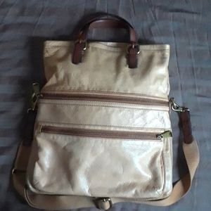 Fossil beige leather messenger purse